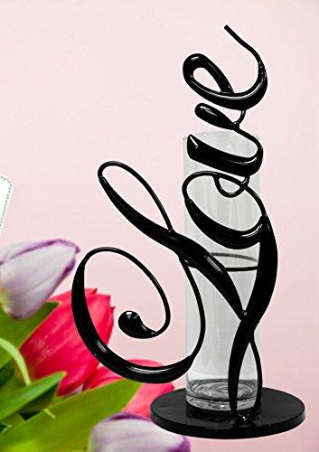 Attraction-Design-Metal-Love-Vase-Black