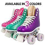 Crazy Skates Glam Roller Skates for Women and Girls - Dazzling Glitter Sparkle Quad Skates - Purple with Gold