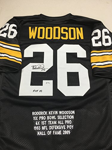 Rod Woodson Autographed Signed Pittsburgh Steelers Custom Stat Jersey GTSM Woodson Personal Player Hologram (Woodson Autograph)