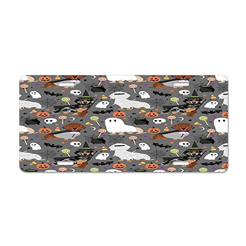 MilitaryAutoTag Dachshund Dog Breed Halloween Dog Costume Doxie Dachsie Pet Friendly Pattern License Plate Cover Personalized Custom Novelty Tag Vehicle Auto Car Bike Bicycle Motorcycle -