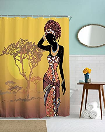 WIHVE African Women Sunlight Old Tree Four Seasons Shower Curtain For Extra  Long Bath Decorations Bathroom