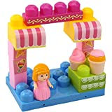 """Image of Dimple """"The Ice Cream Shop"""" Block Set, Variety of 15 Building Blocks with Different Shapes & Sizes, Along with Buildable Lid & Girl Figurine, Educational Toy, Great for Kids & Toddlers"""