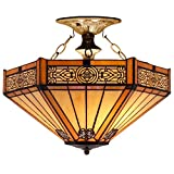 Tiffany Ceiling Fixture Lamp Semi Flush Mount 16 Inch Yellow Hexagon Stained Glass Shade Pendant Hanging 2 Light Fixture for Dinner Room Living Room Bedroom S011 WERFACTORY