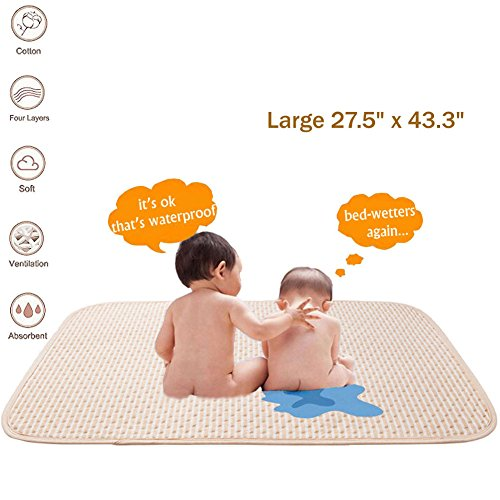 Baby Waterproof Mattress Crib/Bed Pads Organic Cotton Incontinence Sheet Cover Protector,Changing Mat Diapering Washable Bedwetting Pad Ultra Absorbent for Toddler Adults (Large)