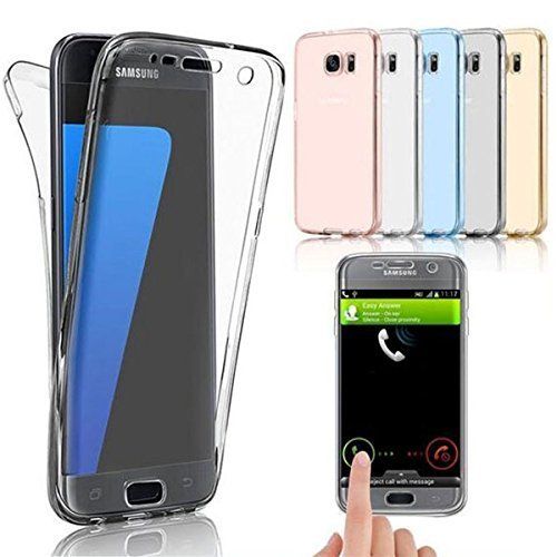 TPU Full Body 360 ° Transparent Cover Samsung Galaxy S7 Edge Hülle Case Schale Handy Tasche Schutz Etui Bumper (Galaxy S7 Edge, Farblos)