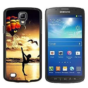 YiPhone /// Prima de resorte delgada de la cubierta del caso de Shell Armor - Yoga Globo Sunset Pájaro Dorado Ocean Beach - Samsung Galaxy S4 Active i9295
