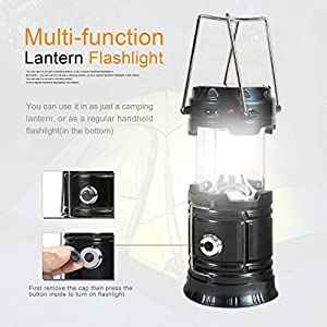 Solar Powered Lantern Flashlight, 4 Packs Rechargeable Camping Lantern Led Collapsible, Bright Lights for Emergency, Hurricane, Power Outage(Black)