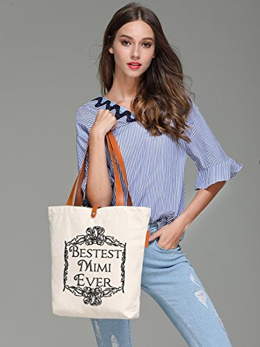 So'each Women's Best Mimi Letters Graphic Top Handle Canvas Tote Shoulder Bag