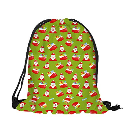 Zarupeng-Bolsa de almacenamiento Bolsa de regalo de Navidad Bolsa de espalda de lino Bolsa de Navidad O