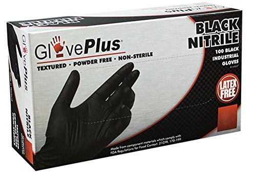 Nitrile Gloves - Industrial Grade - Powder Free - Latex Rubber Free - Disposable - Micro-roughened Texture - Black Color - 5 mil Thickness - Large Size - Case of 1000 - GPNB46100 ()