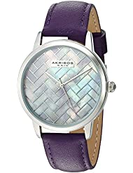 Akribos XXIV Womens Silver-Tone Mother-of-Pearl Mosaic Dial with Purple Glove Style Genuine Leather Strap Watch...
