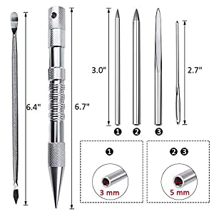 Stosts 6 Pack Marlin Spike Knotters Tool with Paracord FID Set, Stainless Steel Lacing Stitching Needles and Smoothing Tool for Leathercraft Work Laces Strings Cords Weaving Paracord Bracelet