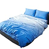 OTOB Lightweight Kids Twin Duvet Cover Sets for Girls Boys Adults Bed 100% Cotton 3 Piece Teen Bedding Set with 1 Comforter Cover 2 Pillowcases Zipper Ties Special Home Textile Decor(Twin, Blue)