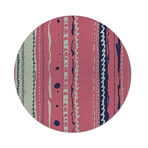 iPrint Cotton Linen Round Tablecloth,Coral,Doodle Lines Artistic Repeating Ornaments Vertical Stripes Abstract Pastel,Coral Indigo Coconut,Dining Room Kitchen Table Cloth Cover ()