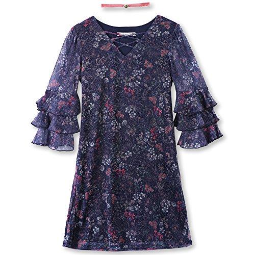 Speechless Big Girls' Bell Sleeve Glitter Mesh Dress, Navy/Fuchsia, 16 (Glitter Mesh Dress)
