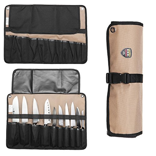 ThinkTop Chef Knife Roll Bag Case 10 Slots,Portable Kitchen Tool Bag Case Easily Carried Knife Pouch Box Organizer Storage by ThinkTop