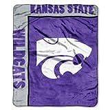 NCAA Officially Licensed Kansas State Wildcats Royal Plush Raschel Fleece Throw Blanket