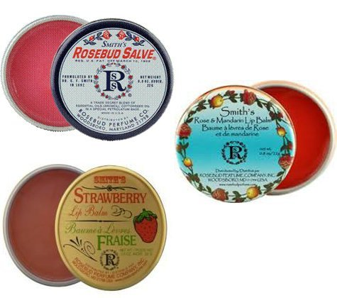 - Rosebud Perfume Co. Tin 3 Pack: Smith's Rosebud Salve + Smith's Strawberry Lip Balm + Smith's Rose and Mandarin Lip Balm by Rosebud Perfume Co.