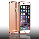 NEW DESIGN iPhone 6/6s Plus Case| Sleek Hybrid Fashion Cover Mirror| Ultra-Thin & Slim Fit| Detachable Metal Bumper & Clear Acrylic Back Panel| Premium Smartphone Accessories - Rose Gold (5.5 inch)
