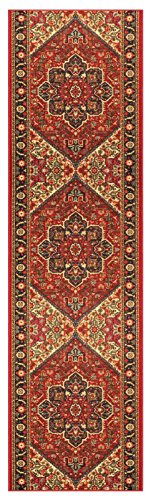 Custom Size RED Persian Medallion Rubber Backed Non-Slip Hallway Stair Runner Rug Carpet 31 inch Wide Choose Your Length 31in X 22ft by Kapaqua