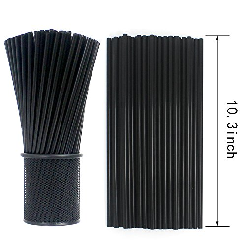 Price comparison product image Tomnk 500PCS 10.3 Inch Drinking Straws Black Plastic Straws