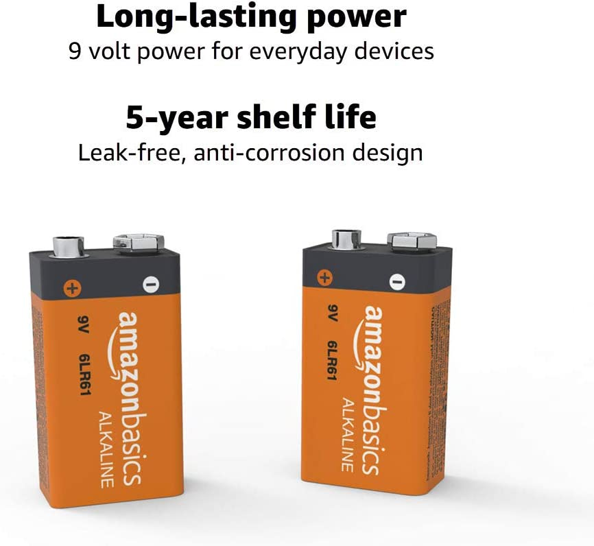 Basics 9 Volt Everyday Alkaline Batteries Pack of 8