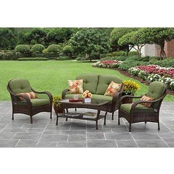 Green Better Homes And Gardens Azalea Ridge 4 Piece Patio Conversation Set,  Seats 4