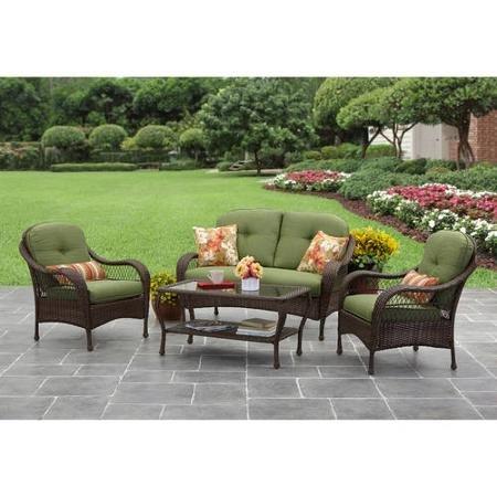 4 Piece Conversation Set (Better Homes and Gardens Azalea Ridge 4-Piece Patio Conversation Set, Seats 4)