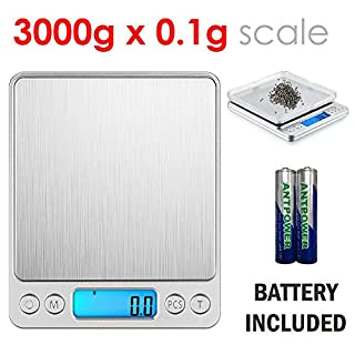 WeeWeigh Digital Scale Grams and Ounces 3000g / 0.1g Precision Lightweight Pocket Scale for Kitchen Cooking Herbs Food Scale - Yarn Scale - Jewelry Scale - Count Pieces -Bonus- 2 Platform Trays