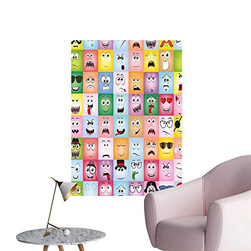 Wall Decoration Wall Stickers Set of Internet Cartoon Meme Funny Facial Gesture Emotion Icons Digital Illustration Multi Print Artwork,32