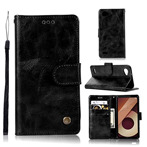 TOTOOSE LG Q6 Case, LG Q6 Leather Wallet Case Book Design with Flip Cover and Stand [Credit Card Slot] Cover Case for LG Q6 - Black (Star Ri Pocket)