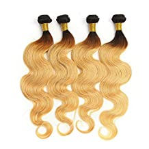 Superwigy Brazilian Ombre Hair Extensions Two Color 1B/27 Black T Blonde Brazilian hair Body Wave Hair Weave 1 bundle 50g 12 Inch (12 Inch)