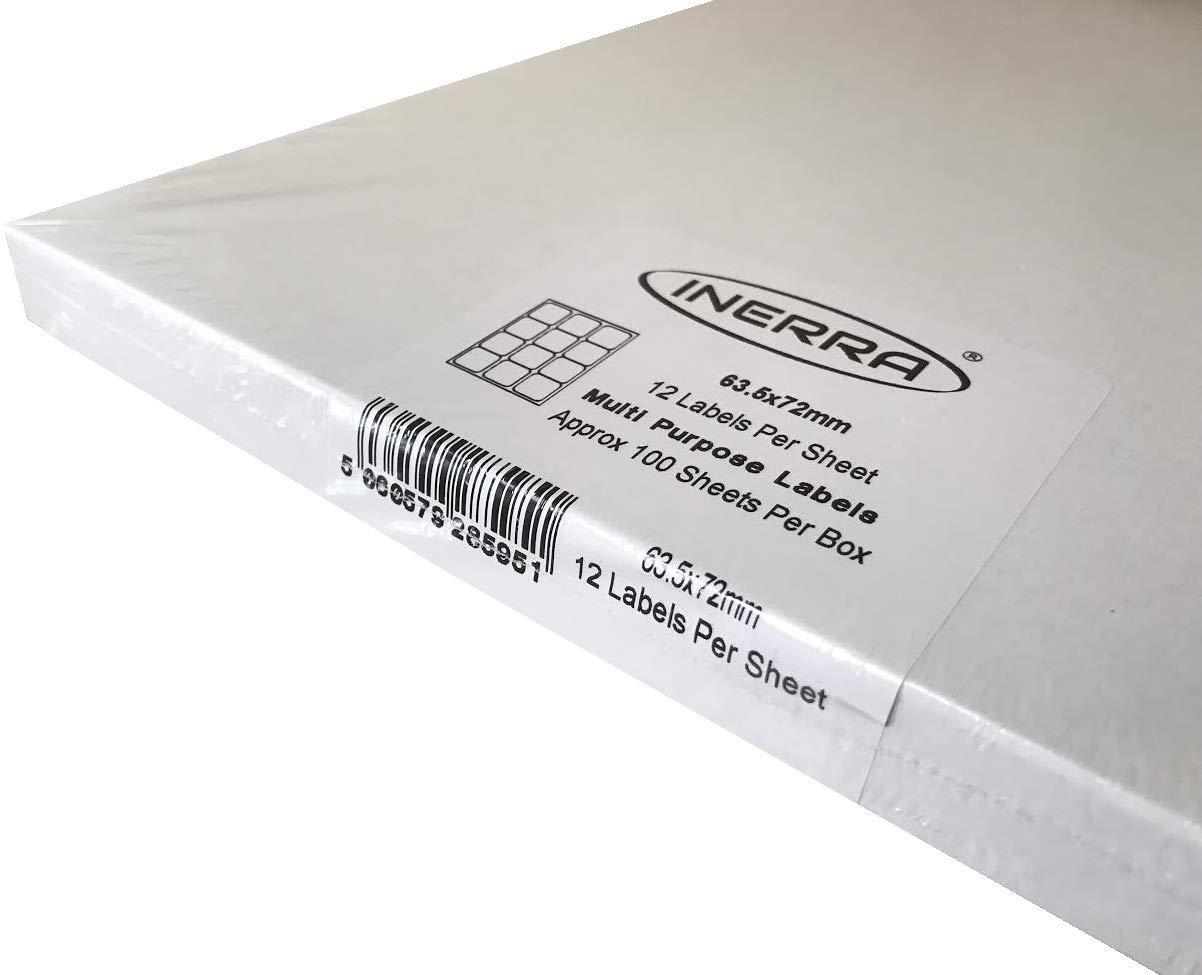 200 Sheets Inerra Vuoto Etichette 12 per A4 Foglio Stampante Indirizzo Adesivi Bianco A4 Fogli Vuoti Etichette