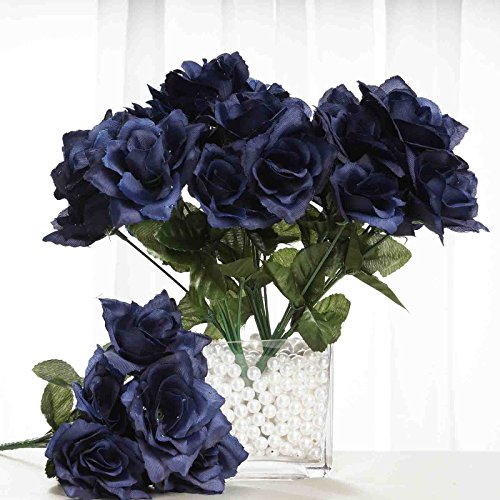 BalsaCircle 84 Silk Open Roses Wedding Flowers Bouquets - Navy Blue