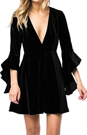 9bcc7472ff98 Caitefaso Womens Fall Velvet Plunge Party Dresses Flare Long Sleeve V Neck  Elegant Swing A Line