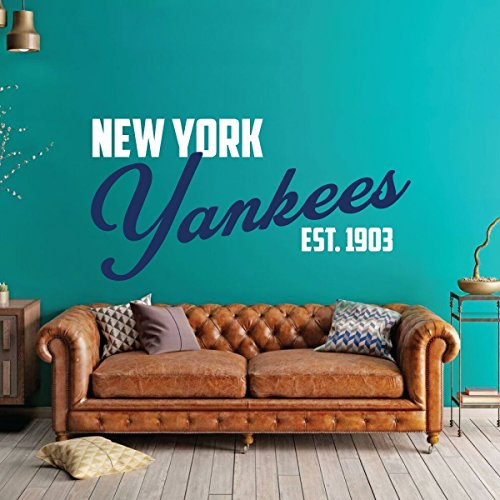 New York Yankees Baseball Vinyl Wall Decal - Sports Team Decoration for Living Room, Office, Bedroom - MLB Themed Home Decor Available in Blue, Gray, Other Colors