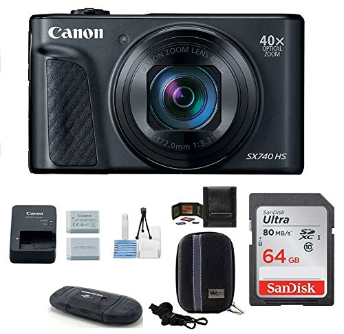 Canon PowerShot SX740 HS Digital Camera (Black) PRO Bundle; Includes: 64GB SDXC Class 10 Memory Card + Spare Battery + Camera Case and More ()