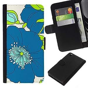 A-type (Pattern Blue Green Drawing Art) Colorida Impresión Funda Cuero Monedero Caja Bolsa Cubierta Caja Piel Card Slots Para HTC DESIRE 816