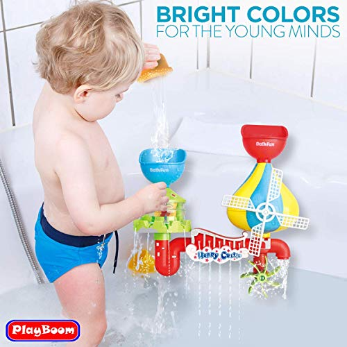 Playboom 19 Piece Baby Bath Toy -Waterfall Water Station with Fishing Rod 3 Stackable Cups Enhance Your Babys Thinking Ability and Creativity Great Bathtub Toys for Boys - Girls-Toddlers