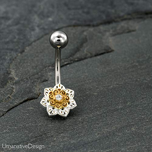 Belly Button Ring, Indian Flower Spiral Mandala Belly Button Ring With Zircon Gemstone, Silver Plated & Gold Plated & Surgical Steel Tribal Boho Unique Navel Piercing, 14g, Handmade Body - Tribal Belly Ring Button Gem