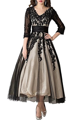 FNKS CRAFT Women's Tulle Prom Party Evening Dresses Lace Applique Tea-Length Ball Gowns Beach Wedding Party Dresses Black and Champagne US14 - Tea Length Sequined Dress