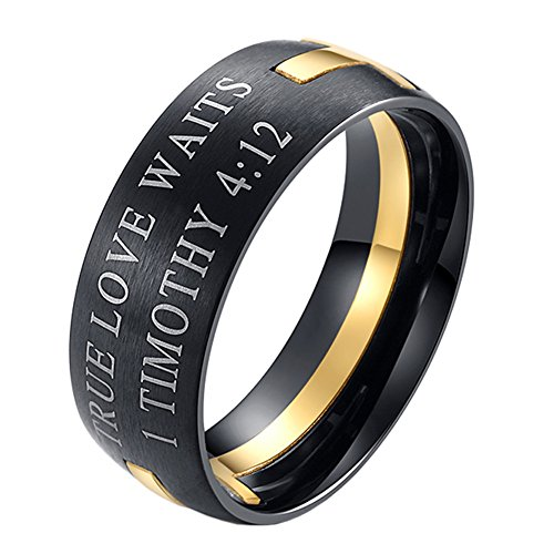 UNAPHYO Men's Stainless Steel True Love Waits 1 Timothy 4:12 Cross Puzzle Ring Band Gold Size - Two Gold Tone Ring Puzzle