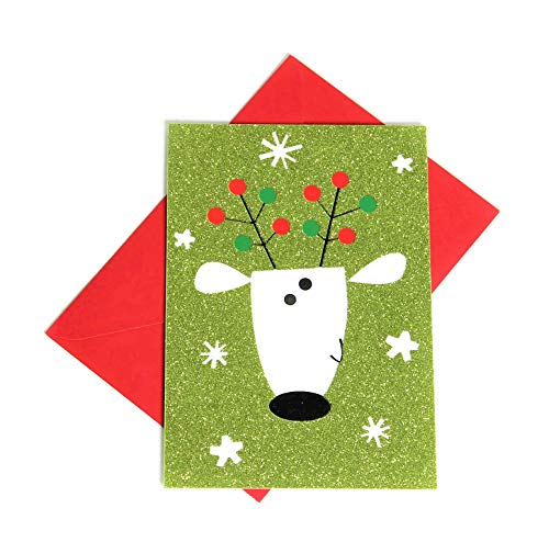 Hallmark Christmas Boxed Cards, Set of 16 Greeting Cards and 17 Envelope Goofy-Faced Reindeer on Lime Green Glitter Cardstock (Reindeer Face) ()