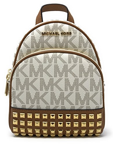 Michael Michael Kors Abbey Extra-Small Signature Studded Backpack Vanilla/Acorn by Michael Kors