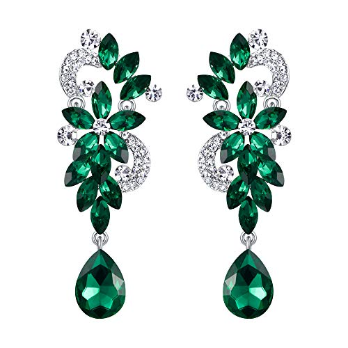BriLove Silver-Tone Dangle Earrings Women's Wedding Bridal Bohemian Boho Crystal Flower Chandelier Teardrop Bling Earrings Emerald Color