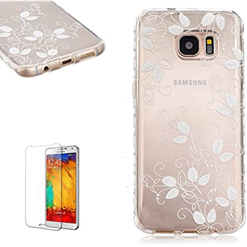 Samsung Galaxy S7 Edge (2016 Release) Case [with Free Screen Protector], FunPlus Transparent Soft Silicone Gel Ultra Thin TPU Beautiful (Leaf Petals) Pattern Sales