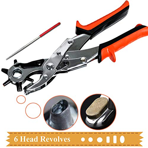 Buypual Leather Hole Punch Pliers Revolving,Craft Puncher Hole Tool,Punch Plier Grip Brass Pad,Screwdriver Grinding Rod for Saddle, Watch Strap, Shoe, Fabric, Multi Sized Oval Flat Circle