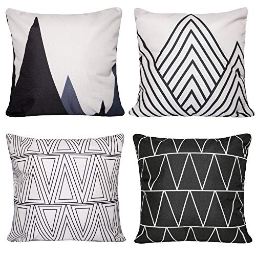 Unves Throw Pillow Covers, 18x18 Set of 4 Decorative Pillows Cotton Linen Couch Sofa Pillow Covers Bedroom Living Room Toss Pillows Throw Pillow Sets Simple Geometric Style Pillows Black