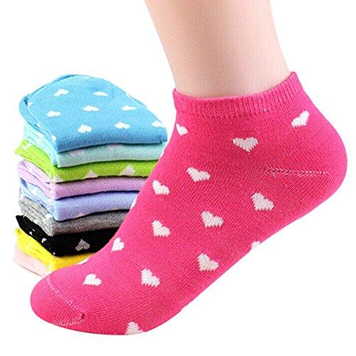 5 Pairs Random Color Womens Sport Cute Heart Ankle High Low Cut Cotton Socks ()