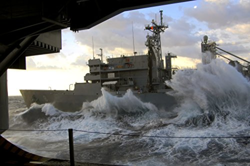 Rough seas pound the hull of Military Sealift Command fast combat support ship USNS Arctic as she sa Fast Combat Support Ships